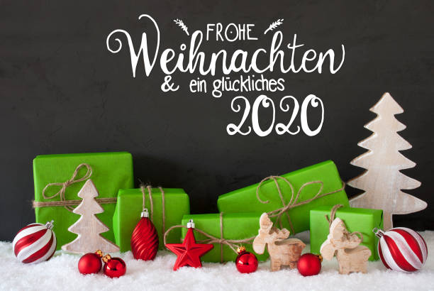 Snow, Tree, Gift, Ball, Glueckliches 2020 Means Happy 2020 – Foto