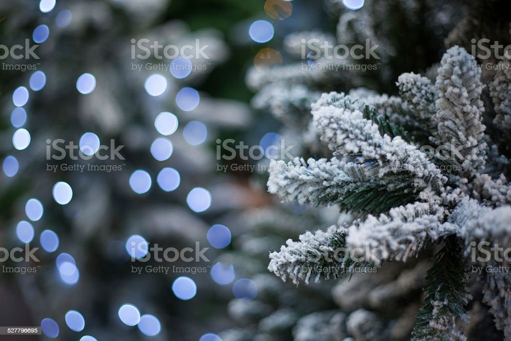 snow tree with christmas lights stock photo