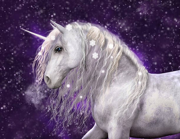 snow unicorn with purple background - unicorns stock photos and pictures