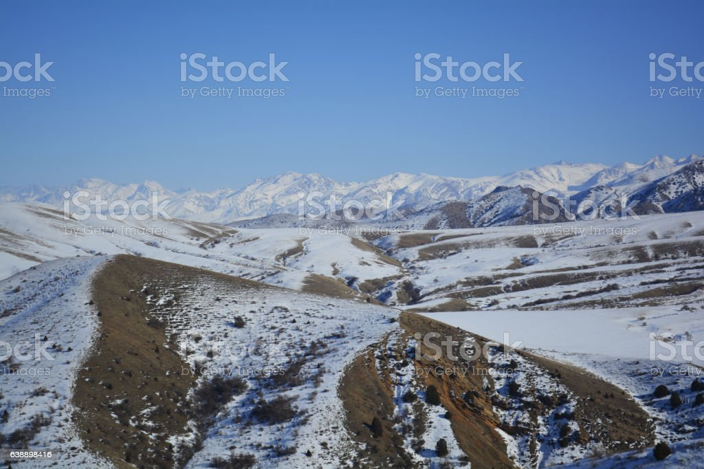 snow valley stock photo