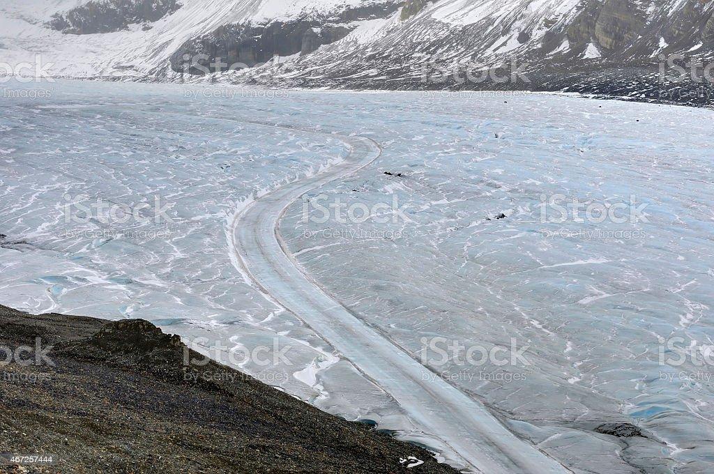 Snow Vehicle Path on Athabasca glacier stock photo