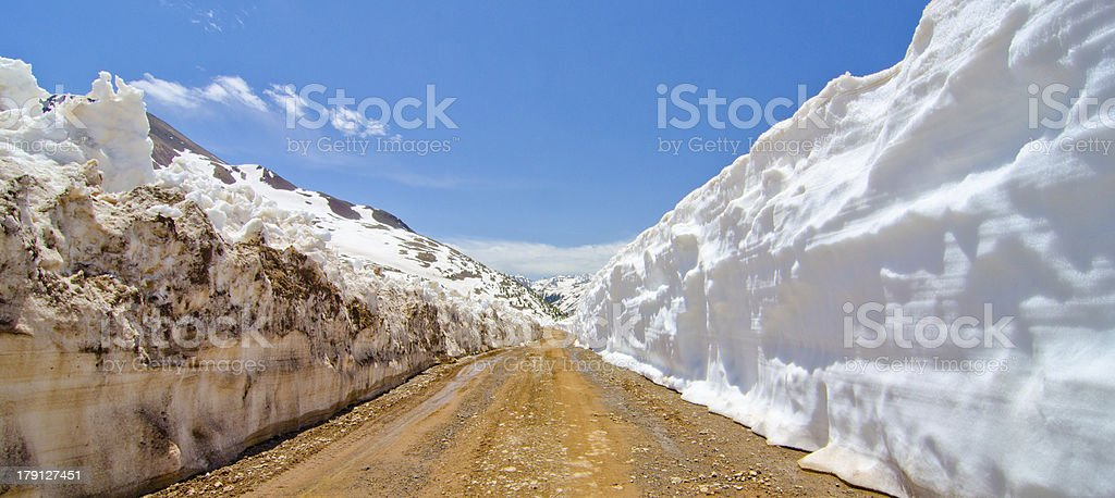 Snow Wall Leading from Animas Forks to Cinnamon Pass royalty-free stock photo