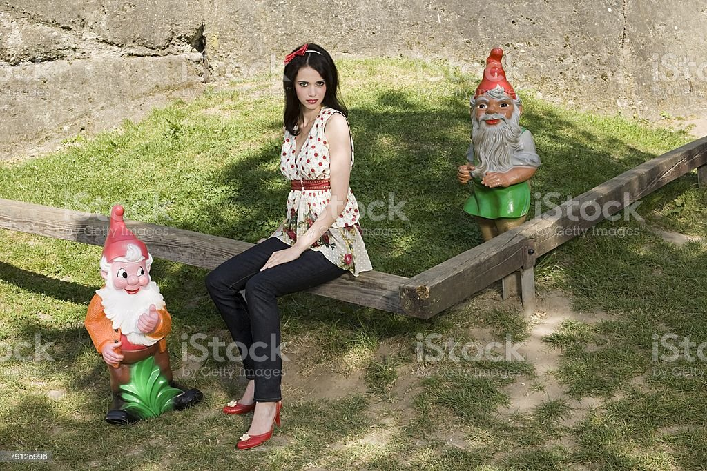 Snow white with dwarves 免版稅 stock photo