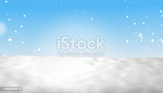 istock snow winter light blue sky background 3d-illustration 1036084876