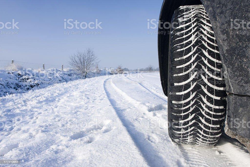 Snow winter tyre stock photo