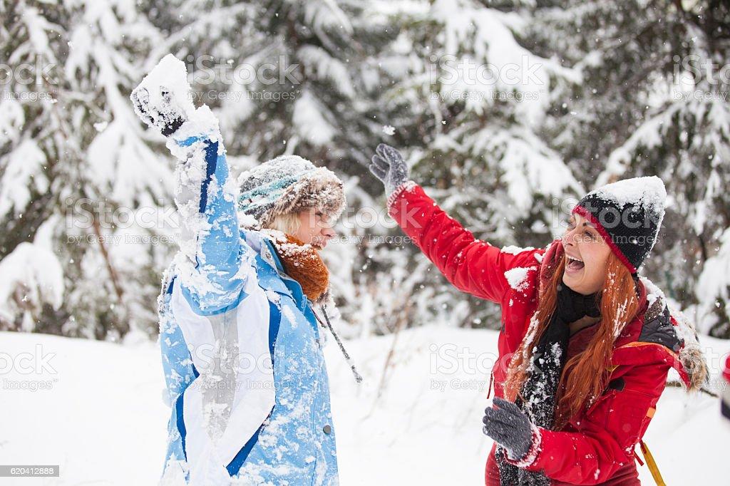 La bataille de boules de neige - Photo