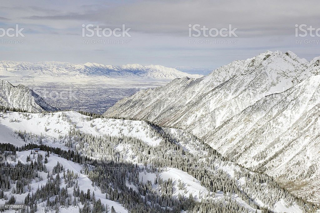 Snowbird Mountain view of Salt Lake City stock photo