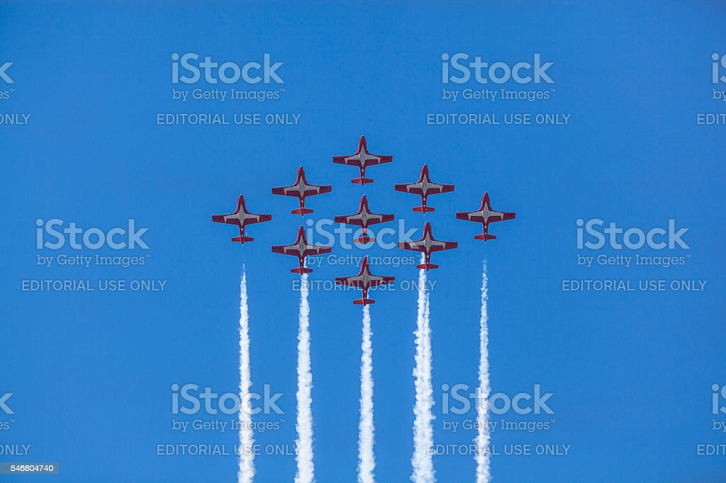 Snowbirds in blue sky stock photo