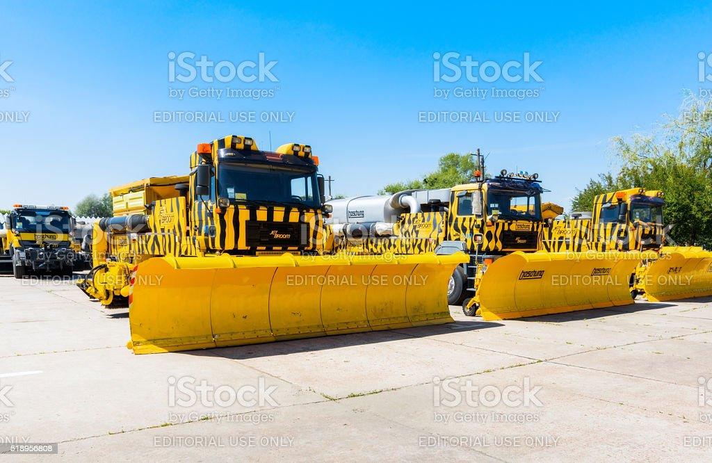 Snowblower. Equipment for maintenance of the runway stock photo