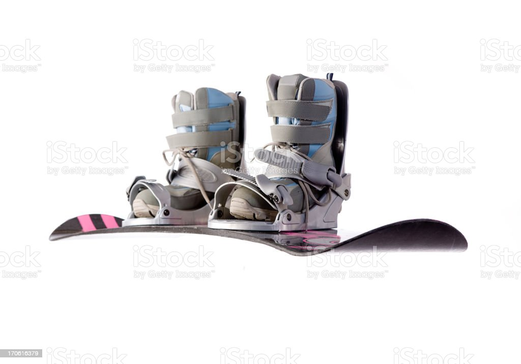 Snowboard and Boots stock photo