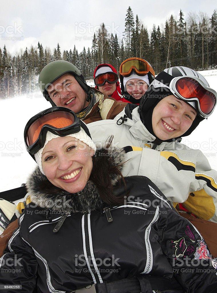 Snowboard and ski team royalty-free stock photo