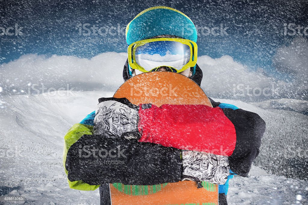 snowboard and snowboarder stock photo