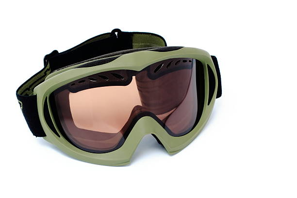 Snowboard goggles isolated Snowboarding or ski goggles isolated on white background ski goggles stock pictures, royalty-free photos & images