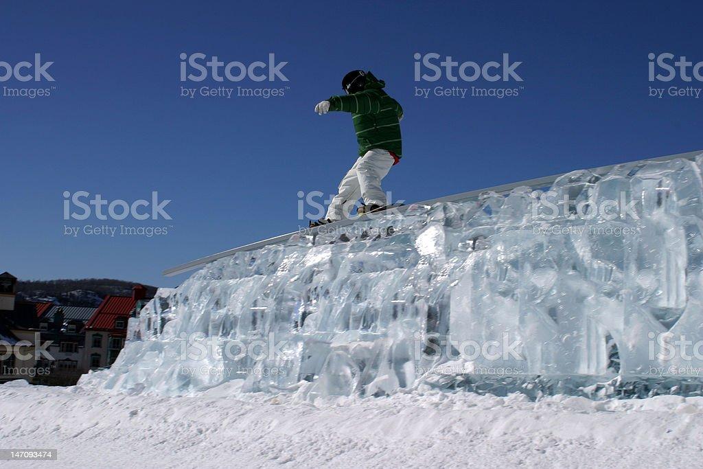 snowboard ice rail stock photo