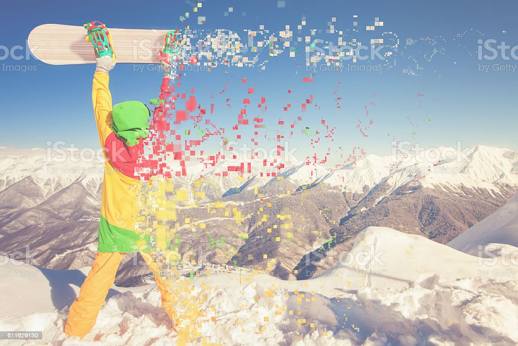 Snowboard image with female snowboarder, Grindelwald stock photo