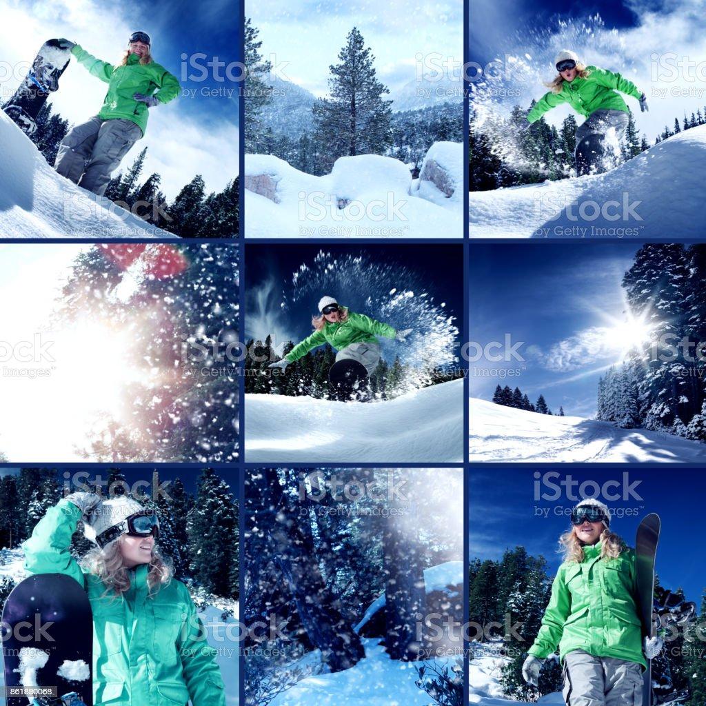snowboard mix stock photo
