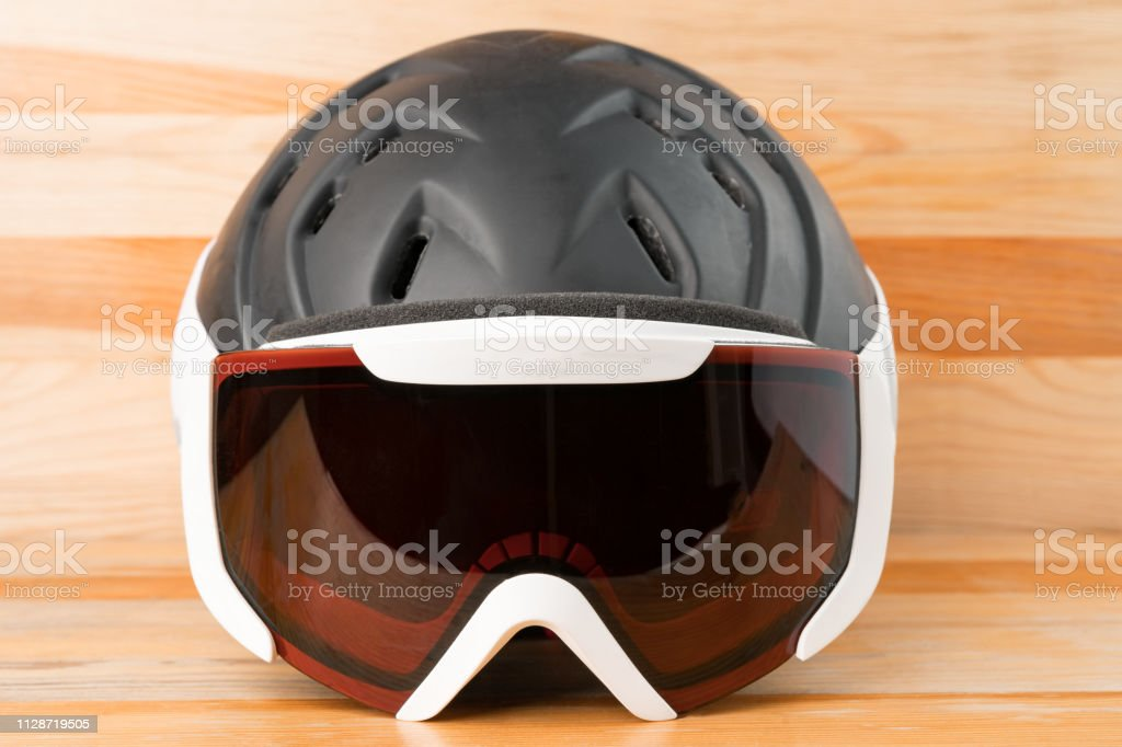Snowboard or ski winter sports protective gear. stock photo
