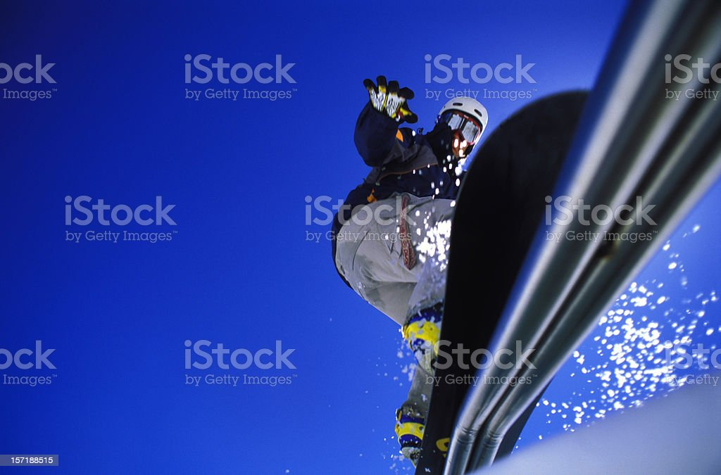 Snowboard rail royalty-free stock photo