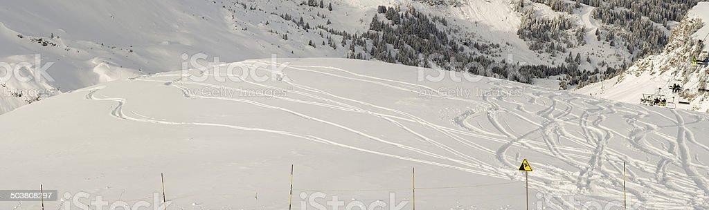 Snowboard trails freeride panorama stock photo