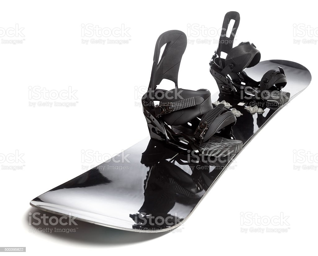 Snowboard with bindings isolated stock photo