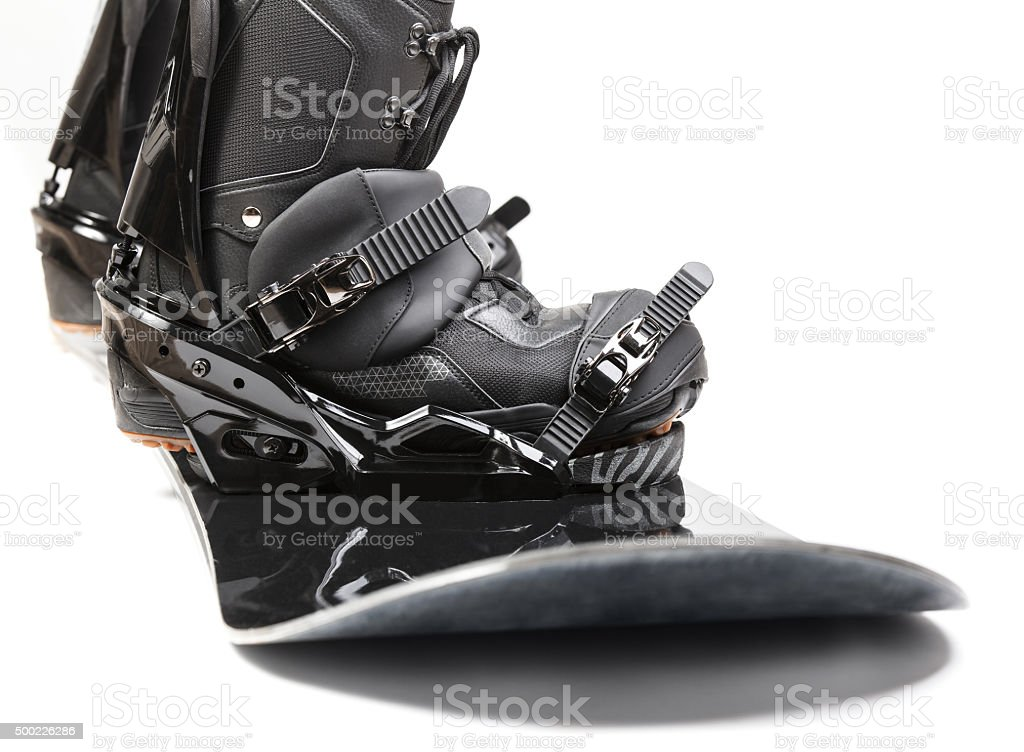 Snowboard with boots on white background stock photo
