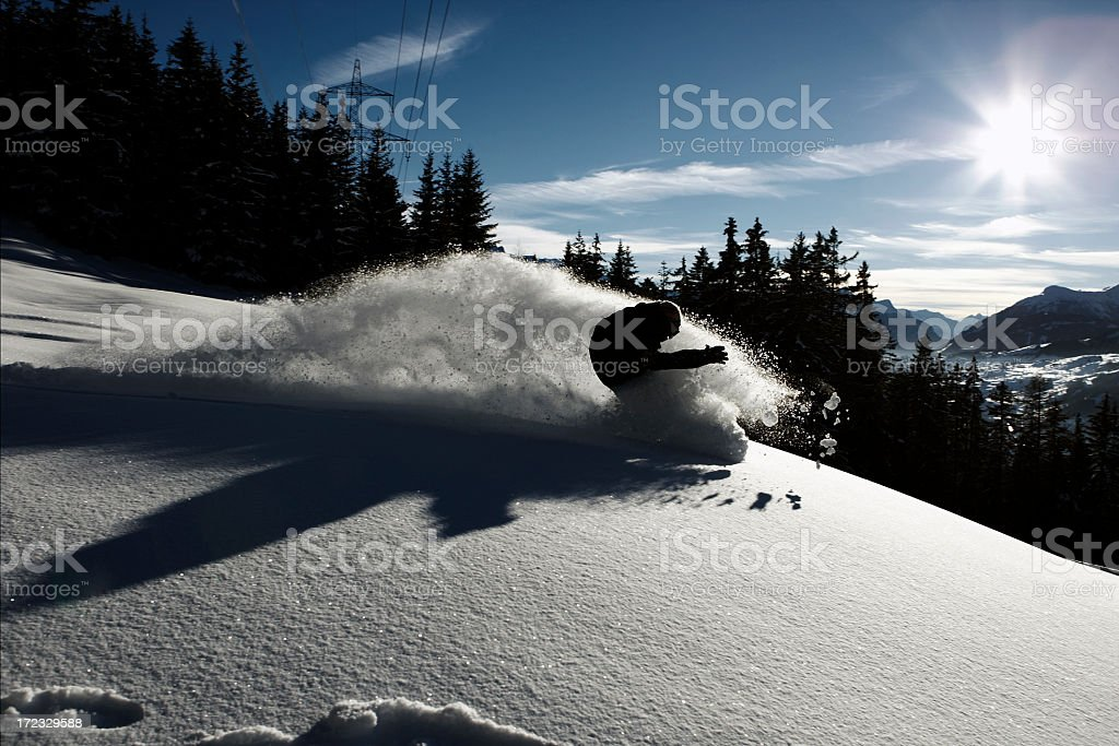 snowboarder against the light royalty-free stock photo