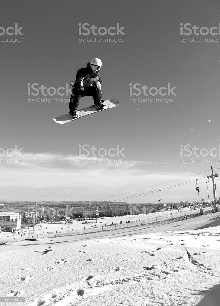 B&W Snowboarder at COP stock photo