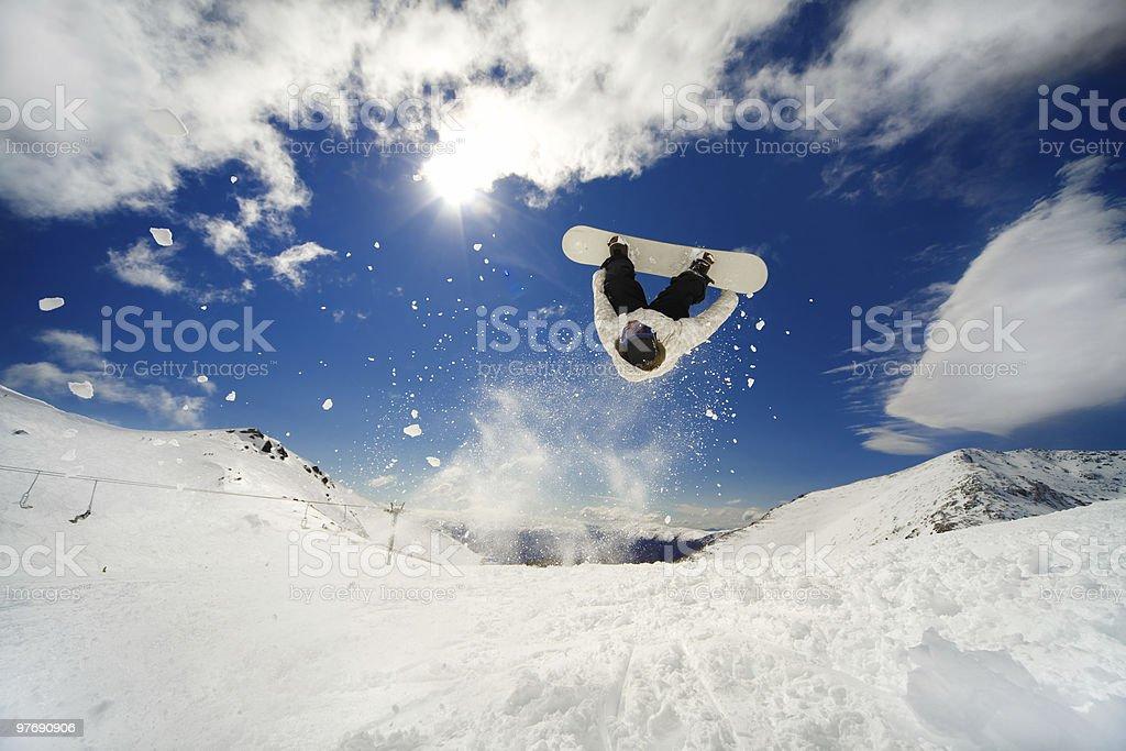 Snowboarder backflip stock photo