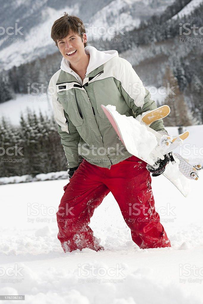 Snowboarder Genießen Sie den frischen Pulverschnee – Foto