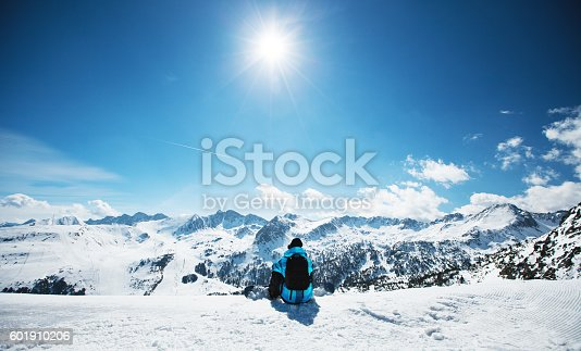 istock Snowboarder enjoying the nature in mountains 601910206