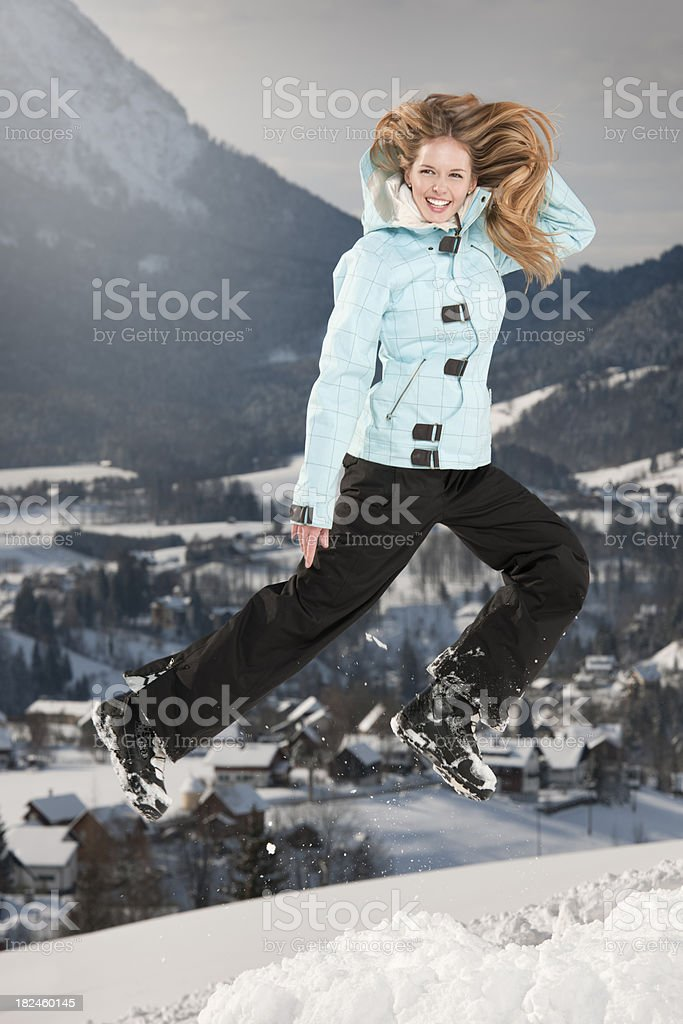 Snowboarder Girl with a perfect candid Smile (XXXL) royalty-free stock photo