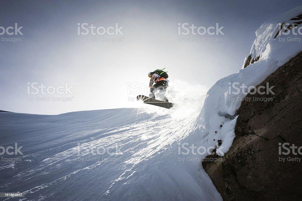 Snowboarder Hits The Sky stock photo