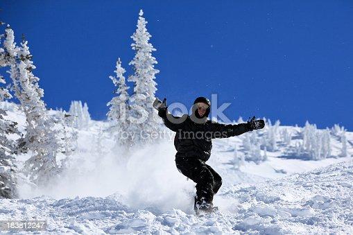 istock Snowboarder in action in Powder Snow 183812247