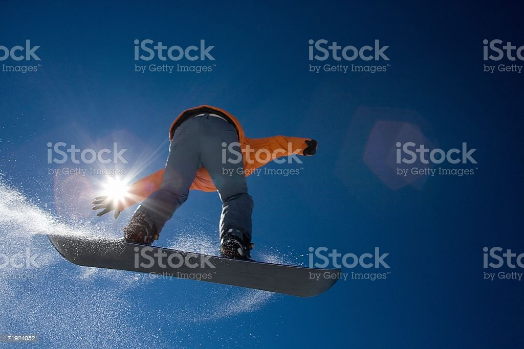 Snowboarder in the air royalty-free stock photo