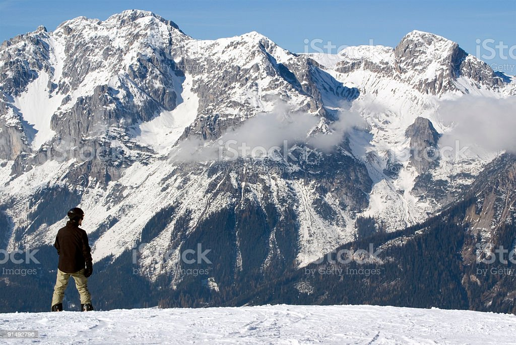 Snowboarder in the Alps royalty-free stock photo