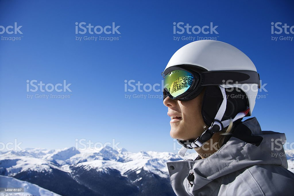 Snowboarder in the mountains of British Columbia stock photo