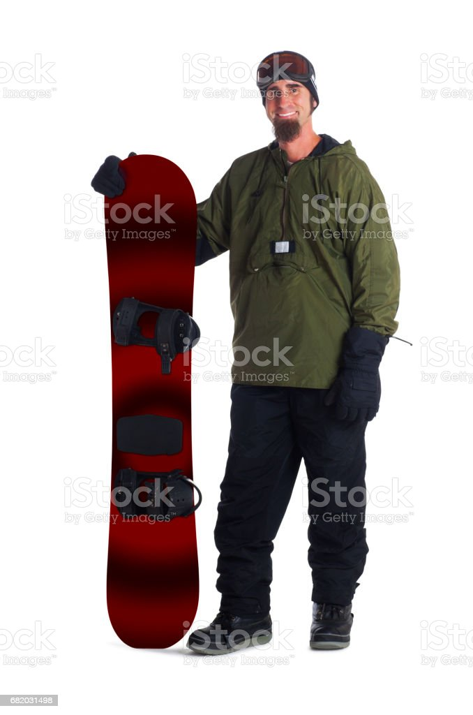 Snowboarder isolated on a white background stock photo