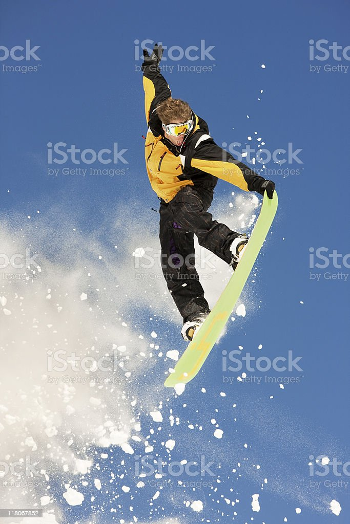 Snowboarder Jumping In The Air royalty-free stock photo
