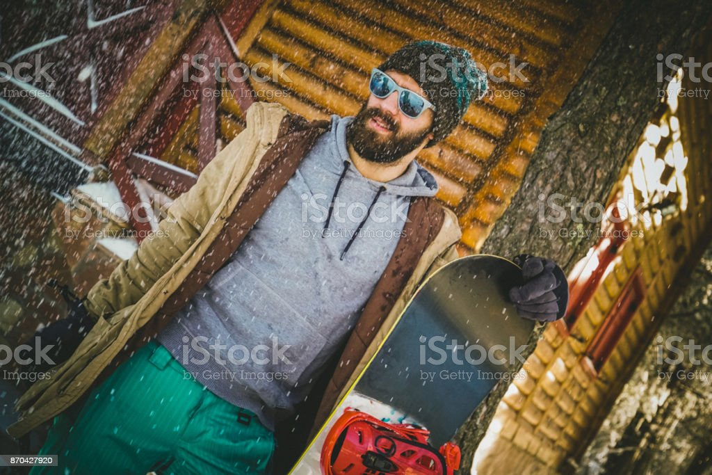 Snowboarder on mountain stock photo
