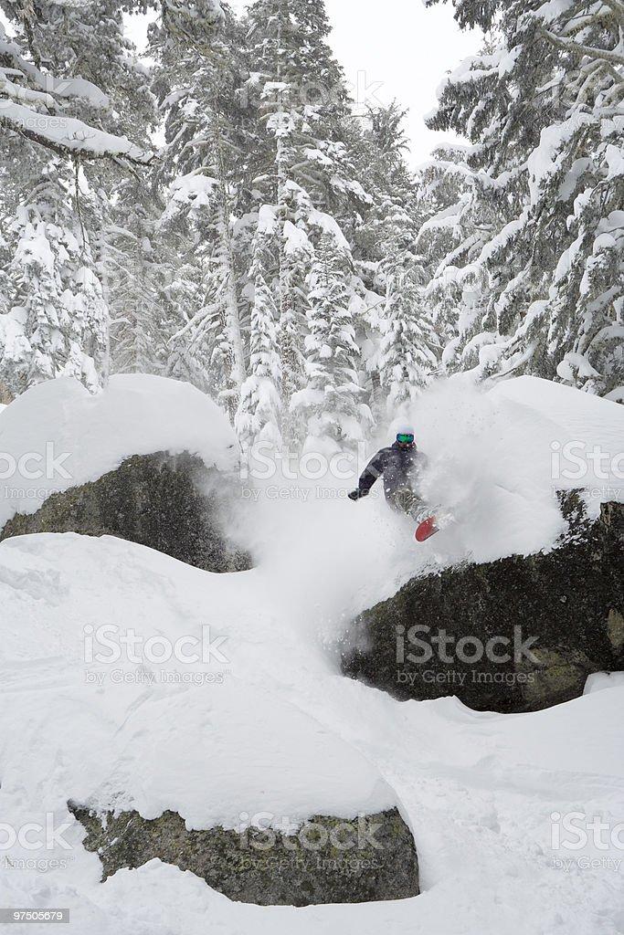 Snowboarder Powder Pillow royalty-free stock photo