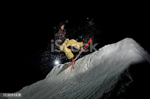 istock snowboarder with dreadlocks dressed is jumping in in the mountains at night 1018151478