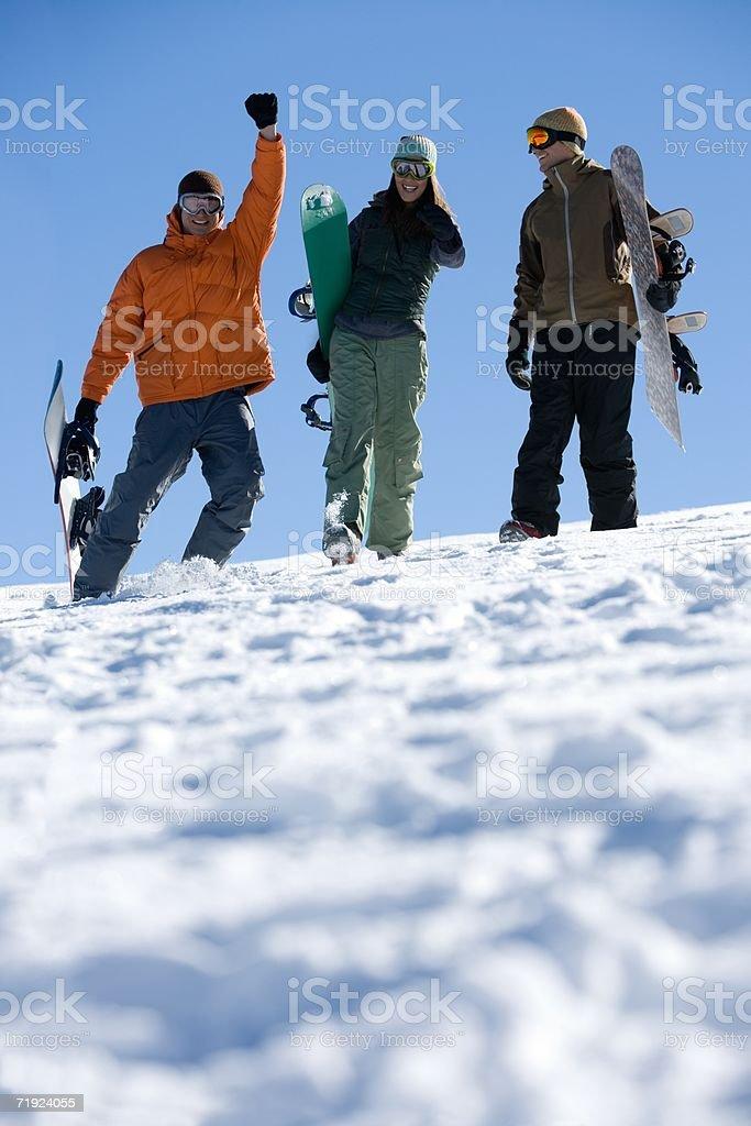 Snowboarders having fun royalty-free stock photo