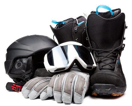Snowboarding  accessories boots goggles gloves helmet