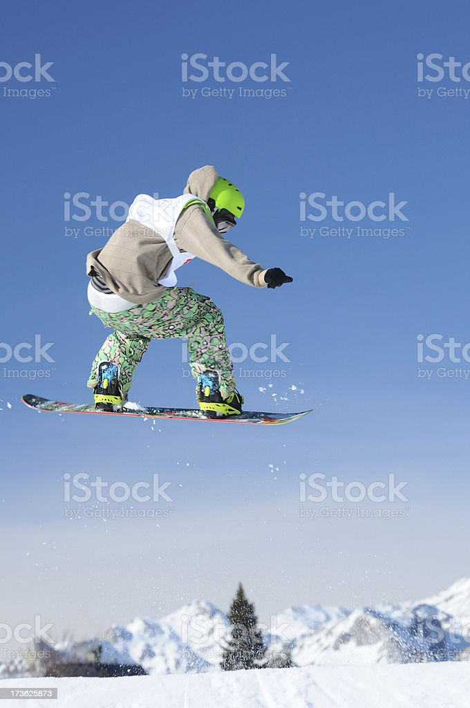 Snowboarding action stock photo