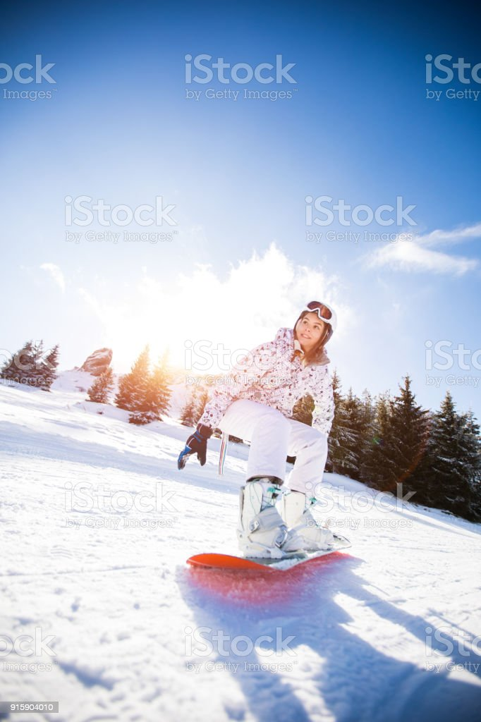 Snowboarding Downhill stock photo