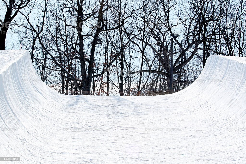 Snowboarding halfpipe stock photo