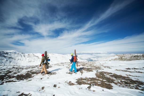 Snowboarding in Kashmir stock photo
