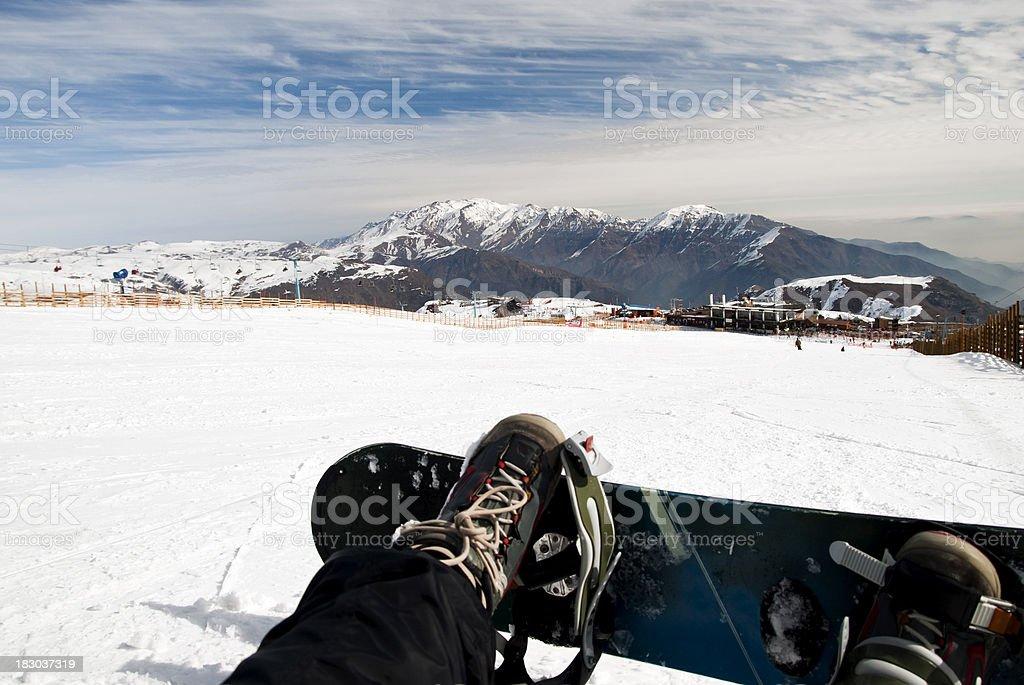 Snowboarding on ski resort stock photo