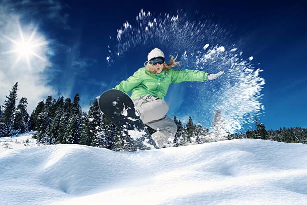 snowboarden - lake tahoe winter stock-fotos und bilder