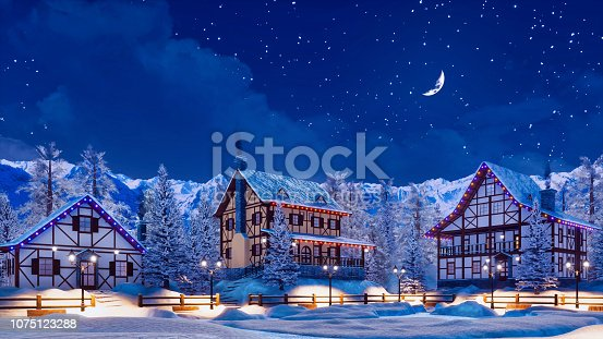 Snowbound european town among alpine mountains with half-timbered houses illuminated by christmas lights at winter night with crescent in starry sky. 3D illustration from my own 3D rendering file.